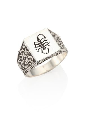 0.925 Silver Engraved Scroll & Signet Scorpion Ring