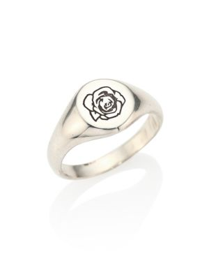 0.925 Silver Engraved Signet Rose Ring