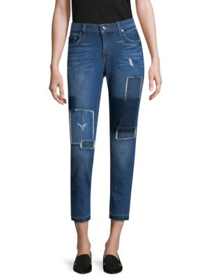 DEREK LAM 10 CROSBY DENIM Mila Patchwork Straight-Leg Jeans