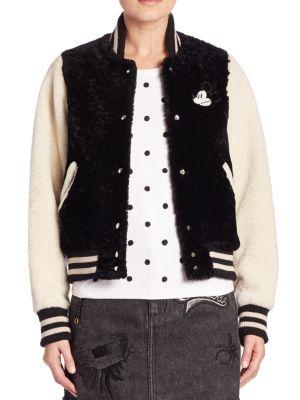 marc jacobs female 234365 mickey fur varsity jacket