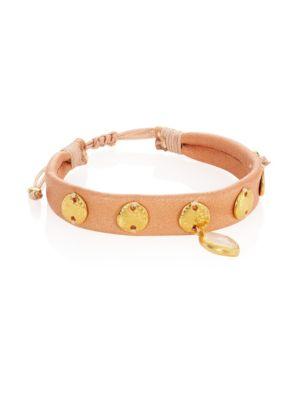 Moonstone & Leather Pull-Tie Bracelet