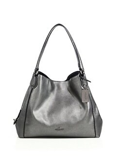coach shoulder bag outlet 8nnt  COACH Edie Metallic Leather Shoulder Bag