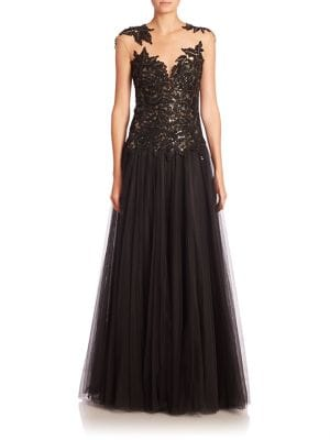Sequin Cap-Sleeve Gown