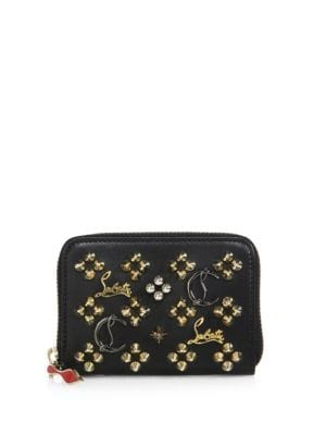 Panettone Logo-Detail Studded Leather Coin Purse
