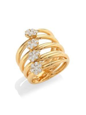 Diamond Flower 18K Gold & Diamond Statement Ring