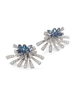 Mirage Diamond & London Blue Topaz Stud & Ear Jacket Set