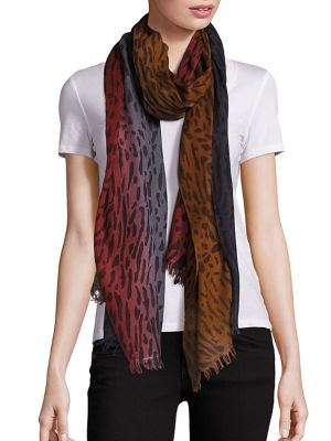 Animal-Print Wool & Silk Scarf