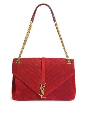 Monogram Large Quilted Suede Shoulder Bag