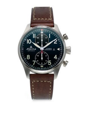 Sapphire Crystal Leather Strap Watch