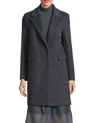 Virgin Wool & Cashmere Blend Long Sleeve Coat