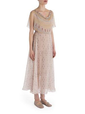 Flutter Sleeve Drape Front Printed Dress