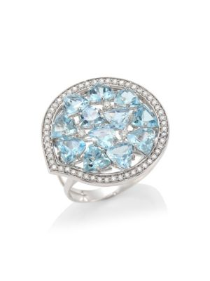 Trilliant 18K White Gold, Aquamarine & Diamond Statement Ring