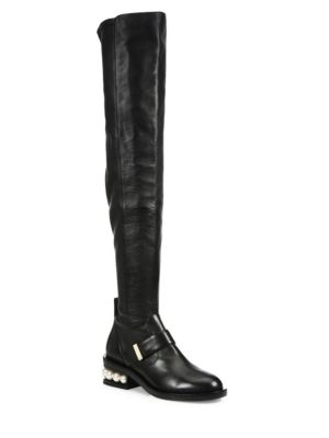 Casati Pearly Heel Leather Over-The-Knee Boots