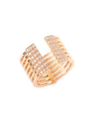 Izzy Diamond & 18K Yellow Gold Open Ring