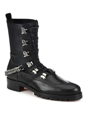 christian louboutin female chain leather combat boots