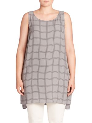 Silk Plaid Tunic Top plus size,  plus size fashion plus size appare