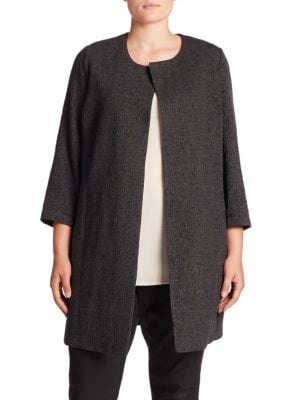 Jacquard Collarless Jacket plus size,  plus size fashion plus size appare