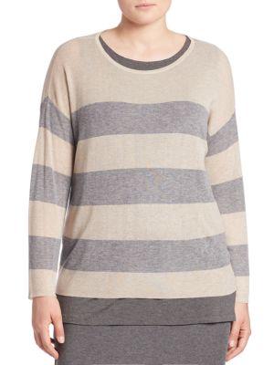 Long Sleeve Striped Sweater plus size,  plus size fashion plus size appare