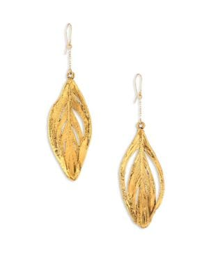 18K Yellow Gold Swan Feathers Earrings