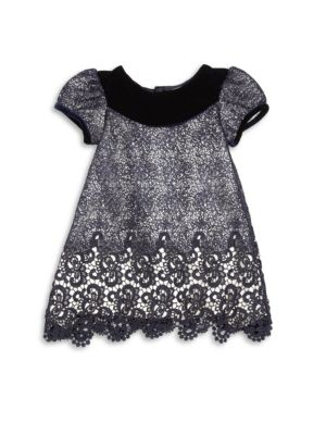 Baby's Velvet Trim Lace Dress