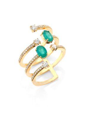Rainbow Diamond, Emerald & 18K Yellow Gold Ring