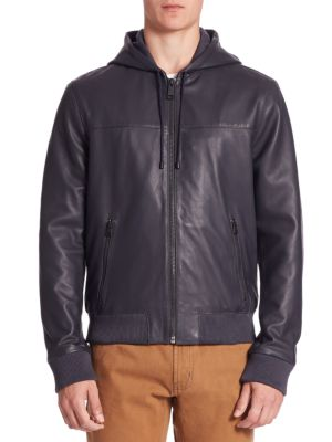 MODERN Zip-Front Hooded Leather Jacket