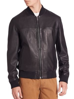 MODERN Zip-Front Leather Bomber Jacket