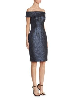 Jacquard Off-The-Shoulder Sheath Dress