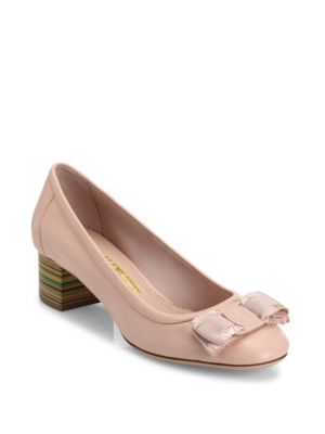 Elvin Ribbon Bow Leather Pumps