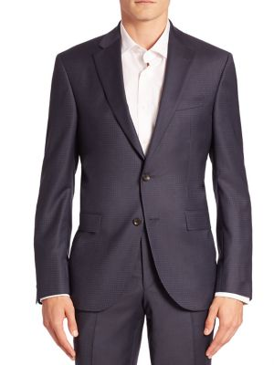 Modern Geometric Wool Suit Jacket