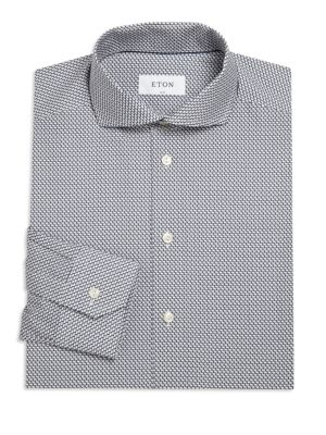 Printed Tonal Slim-Fit Dress Shirt