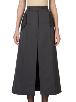 Wool Whipcord Long Skirt plus size,  plus size fashion plus size appare
