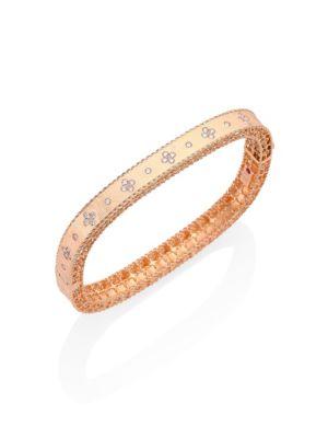 Princess Diamond & 18K Rose Gold Bangle Bracelet