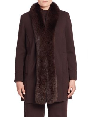 Fox Fur-Trim Wool Coat plus size,  plus size fashion plus size appare