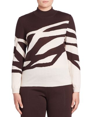 Abstract Print Mockneck Sweater plus size,  plus size fashion plus size appare