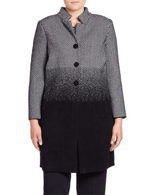 Long Sleeve Herringbone Jacket plus size,  plus size fashion plus size appare