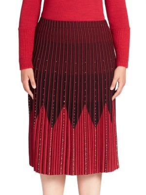 Chevron Embellished Pleated Skirt plus size,  plus size fashion plus size appare
