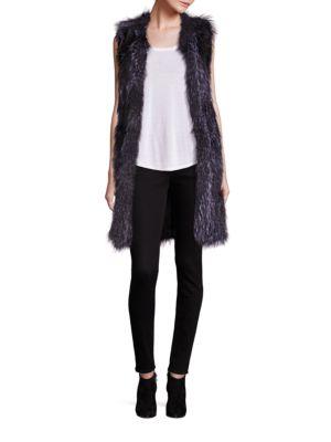 Long Knit Fox Fur Vest