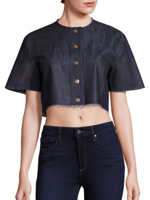 Cropped Snap-Front Shirt by Solace London