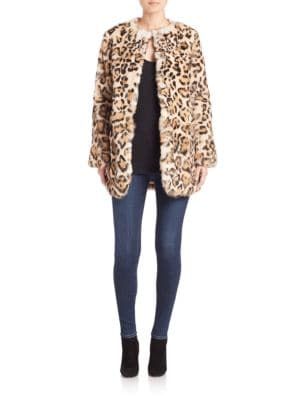 Leopard-Print Rabbit Fur Coat