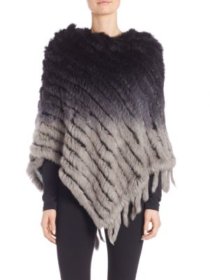 Ombre Rabbit Fur Poncho