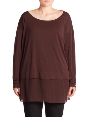 Silk Layered Hem Tunic Top plus size,  plus size fashion plus size appare