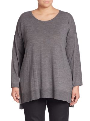 Merino Wool Hi-Lo Sweater plus size,  plus size fashion plus size appare