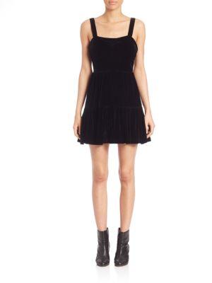 Velvet Tiered Fit-&-Flare Dress