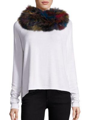 Multicolor Fox Fur Infinity Scarf