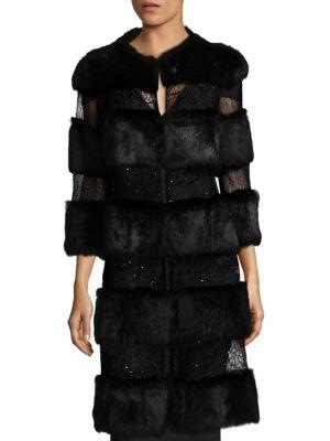 ALBERTO MAKALI Rabbit Fur Sequin Long Coat