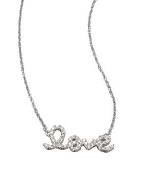 Love Diamond & 14K White Gold Small Pendant Necklace