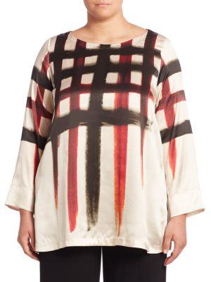 Silk Check Blouse plus size,  plus size fashion plus size appare