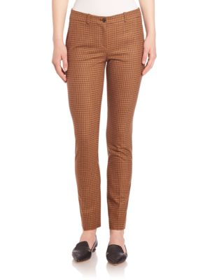 michael kors female 124273 tattersall stretch wool flannel pants