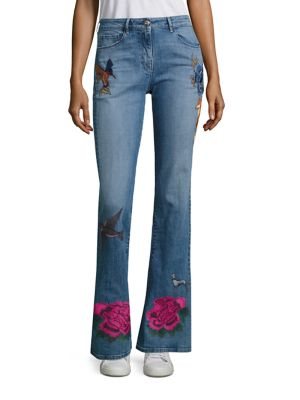 Embroidered Flared Leg Jeans